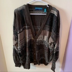 Claybrooke Brown Vintage Grandpa Style Sweater-XL